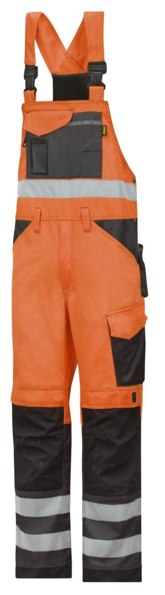 Snickers 0113 High-Vis Bib & Brace Trousers, Class 2