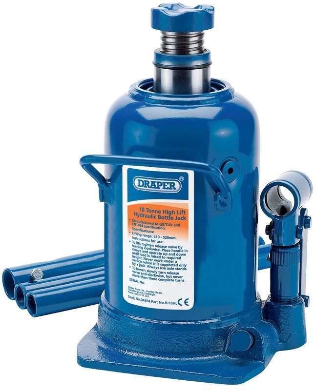 Draper 10 Tonne High Lift Hydraulic Bottle Jack 04984