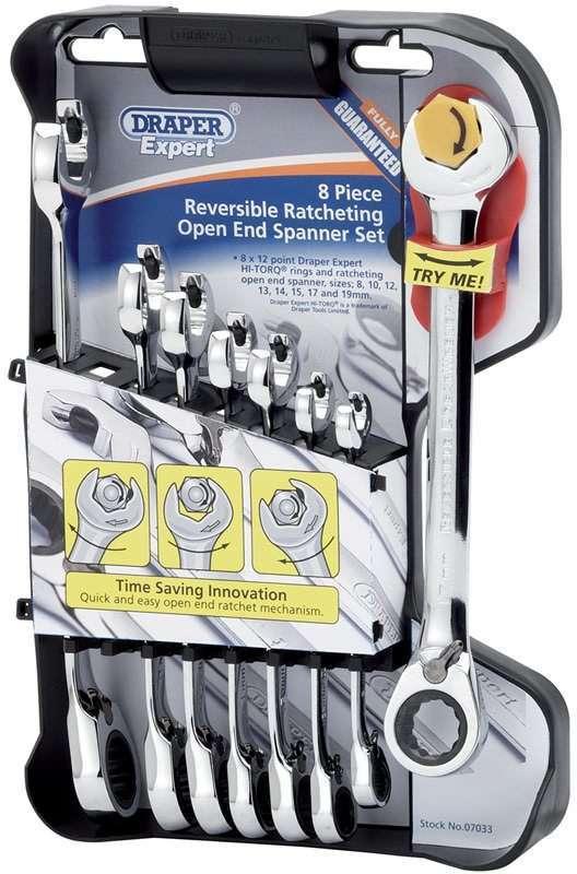 Draper Metric Reversible Double Ratcheting Combination Spanner Set 07033