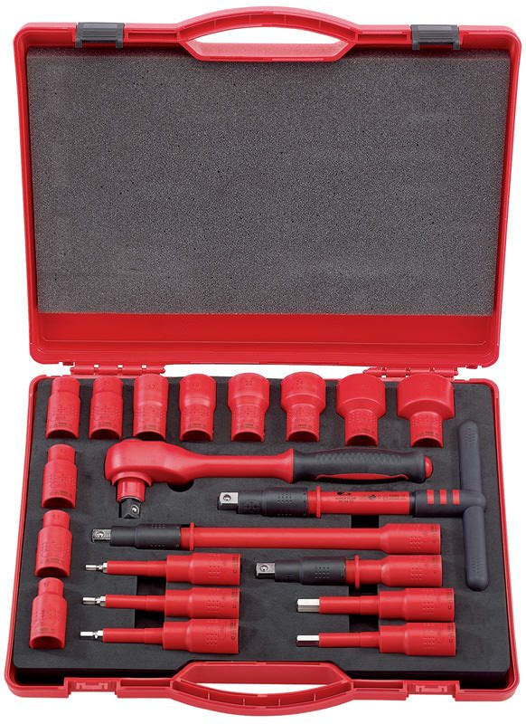 """Draper 20 Piece 1/2"""" Sq. Dr. VDE Approved Fully Insulated Metric Socket Set"""