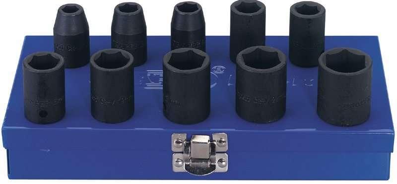 "Draper 10 Piece 1/2"" Square Drive Hi-Torq® Metric Impact Socket Set"