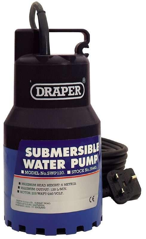 Draper 120L/Min (Max.) 200W 230V Submersible Water Pump
