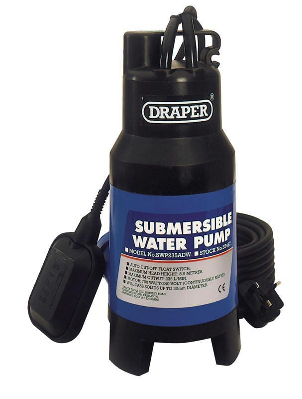 Draper 230V 235L/Min Submersible Dirty Water Pump