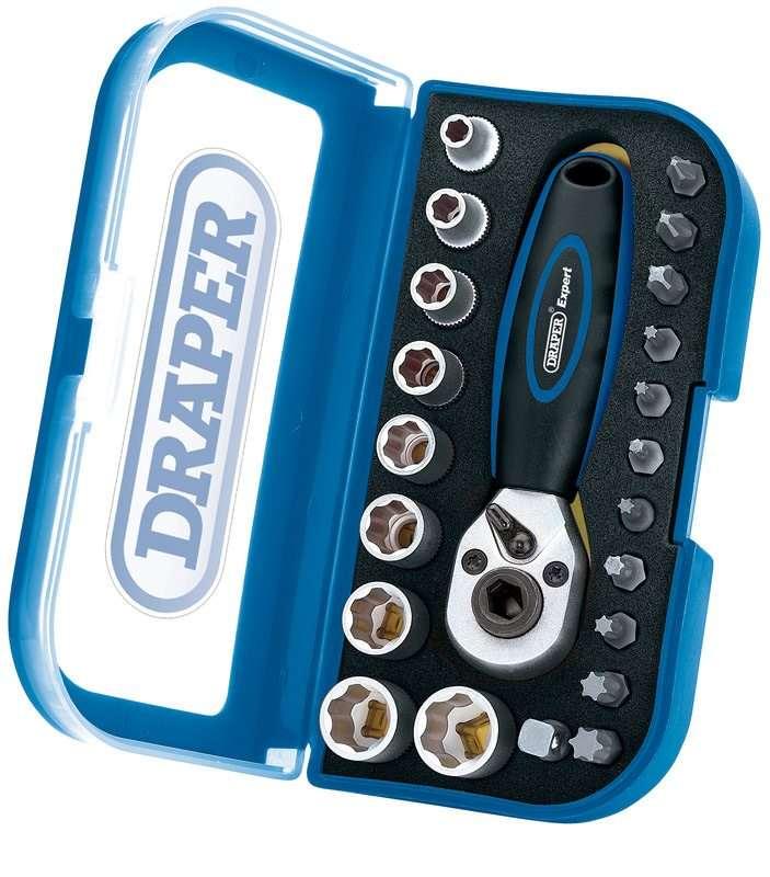 "Draper 1/4"" Sq Drive 22 Piece Double Driver Socket and Bit Set"