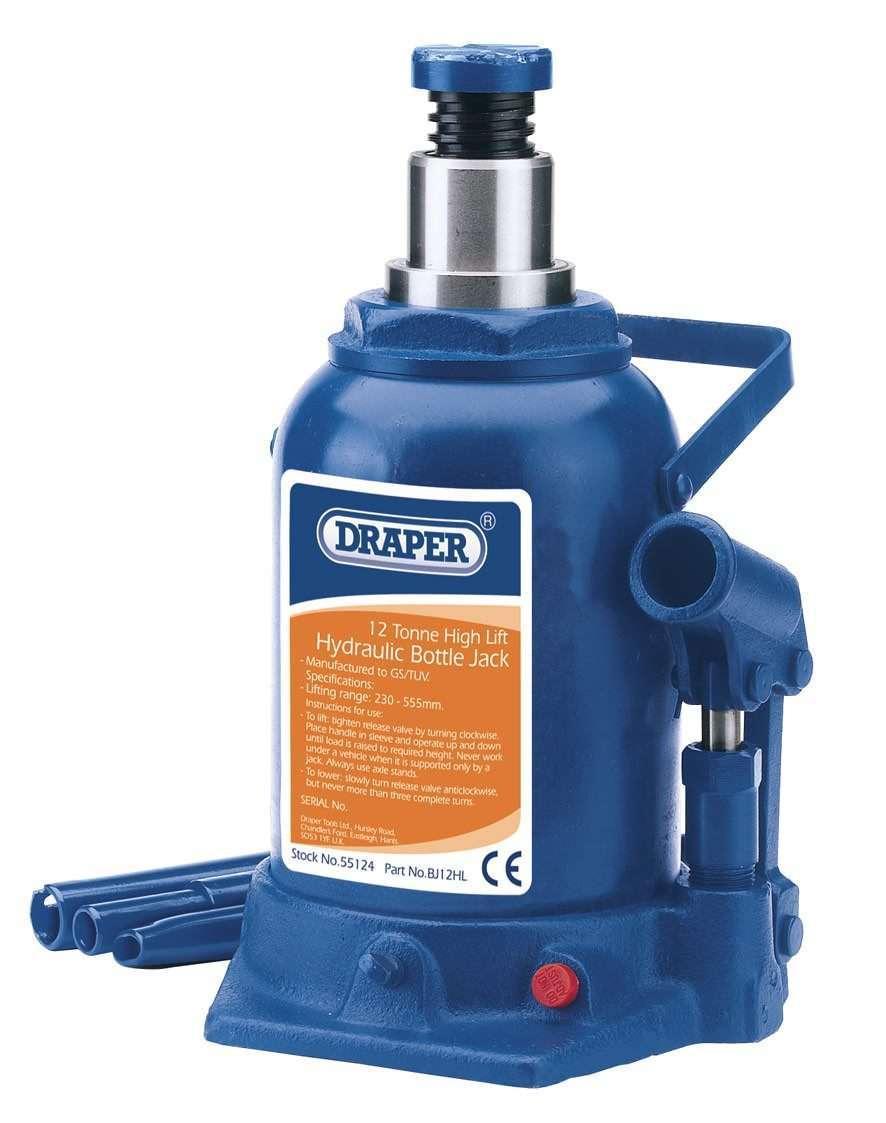 Draper 12 Tonne High Lift Hydraulic Bottle Jack 55124
