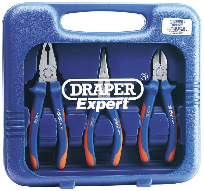 Draper 3 Piece Heavy Duty Soft Grip Pliers Set 69289