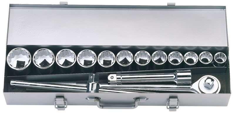 """Draper 15 Piece 3/4"""" Sq. Dr. Silverdrive® Metric Socket Set"""