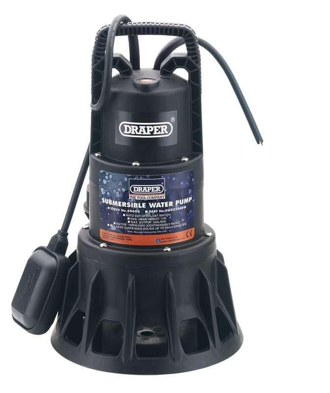 Draper 320L/Min (Max.) 1000W Submersible Dirty Water Pump 230V