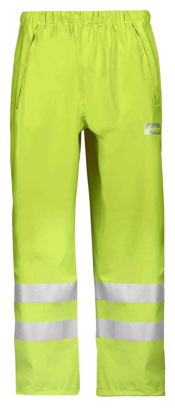 Snickers 8243 High-Vis PU Rain Trousers, Class 2