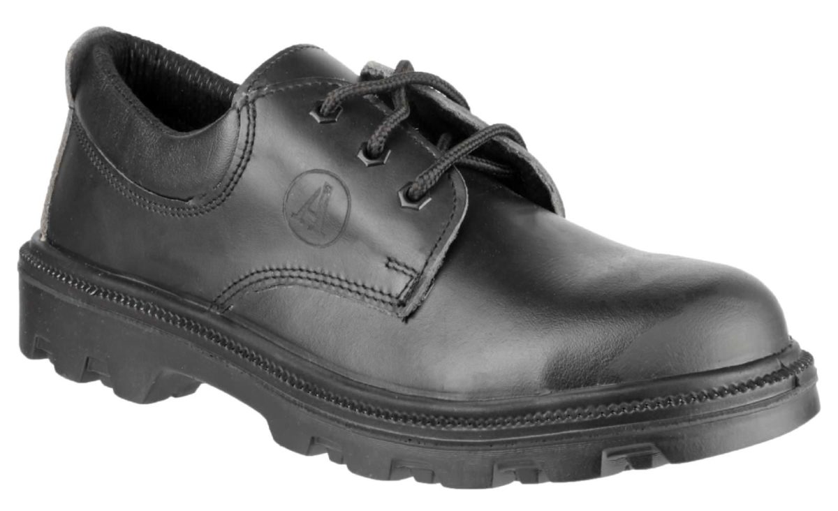 UK 4 Wide Safety Boots Unisex Dealer Boots Leather Black Metal Free Work Shoes