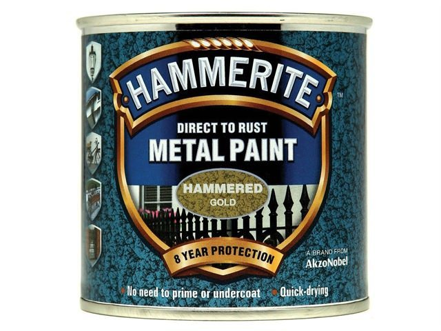 Hammerite Direct to Rust 250ml Hammered Finish Gold