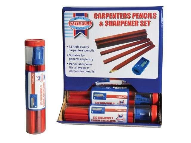 Faithfull Carpenters Pencils Tube (Tube of 12 + Sharpener)