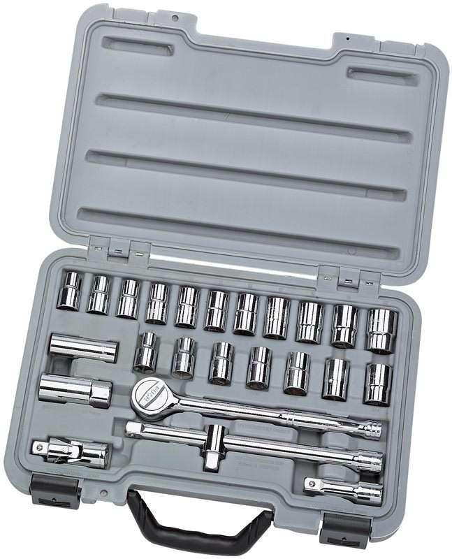 """Draper 25 Piece 1/2"""" Sq. Dr. MM/AF Combined Socket Set 02370"""