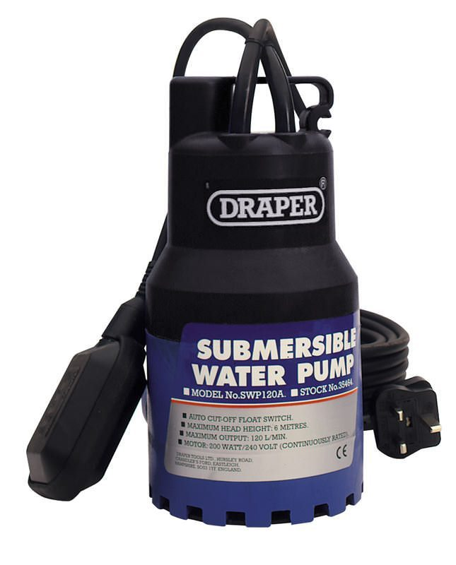 "Draper 1"" 230V Submersible Water Pump with Float Switch"