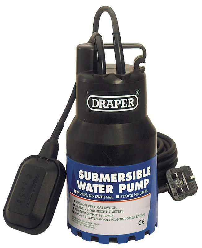 """Draper 1"""" Submersible Water Pump 230V with Float Switch"""