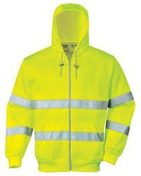 Hi-Vis Zipped Hooded Sweatshirt