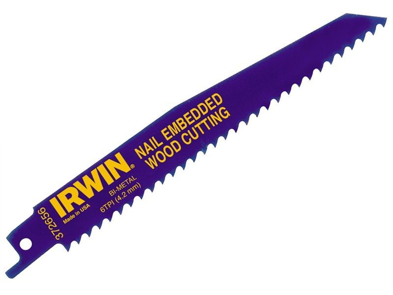 Irwin Sabre Saw Blades Nail Embeded Wood 656R
