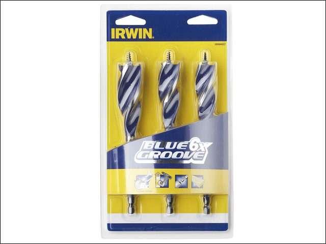 Irwin 6X Blue Groove Wood Drill Bit Set of 3