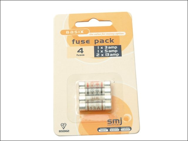 Pack of 4 Mixed Fuses (1x3a/1x5a/2x13a)