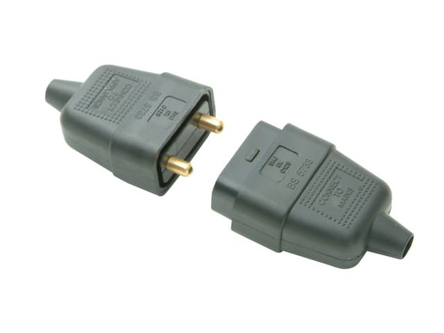 Black 10A 2 Pin Plug & Socket