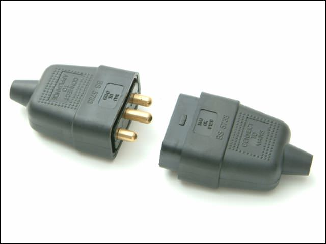 Black 10A 3 Pin Plug & Socket