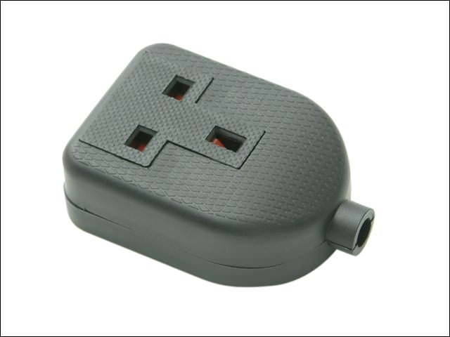 Black 13A 1 Gang Rubber Extension Socket