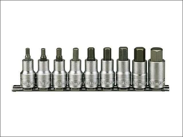 Teng M1212 Socket Clip Rail Metric Hex 9 Piece 1/2in Drive
