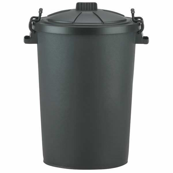 80L Black Dustbin c/w Locking Lid