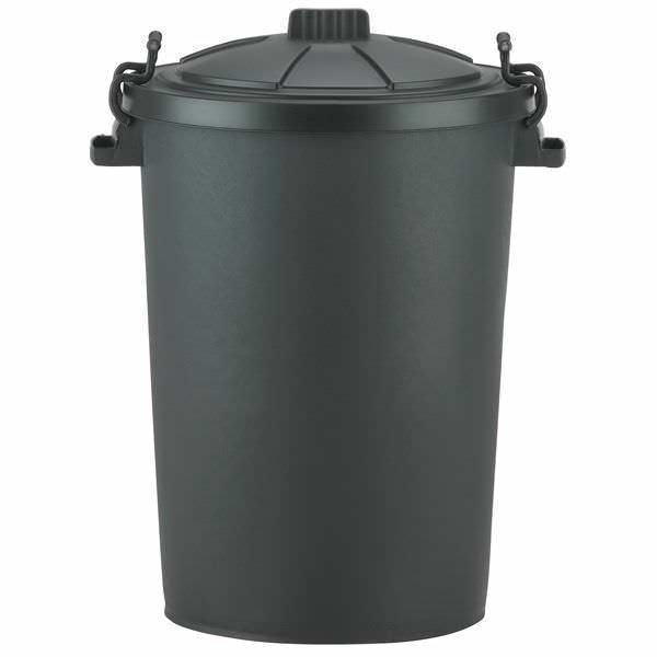 90L Black Dustbin c/w Locking Lid