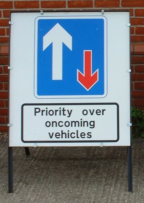 Priority Sign Complete with Frame