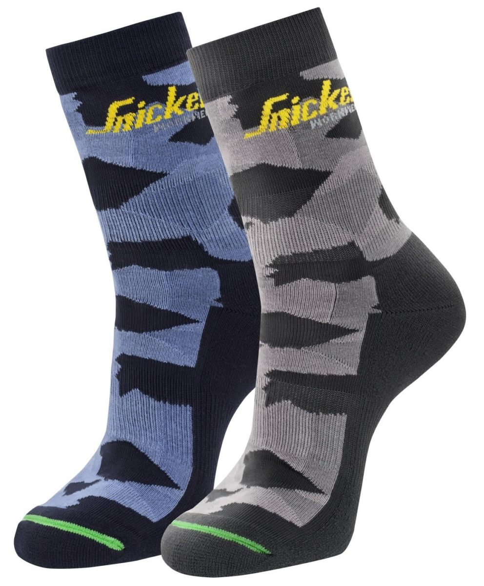 Snickers 9219 FlexiWork, 2-pack Camo Socks