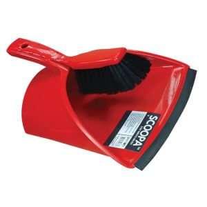 SCOOPA Dustpan and Brush, Stiff Bristle, Red