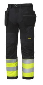 Snickers 6931 FlexiWork, High-Vis Work Trousers Holster Pockets+ CL1