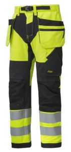 Snickers 6932 FlexiWork, High-Vis Work Trousers Holster Pockets+ CL2