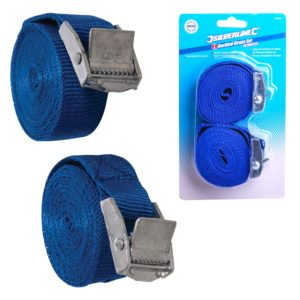 Silverline Cam Buckle Tie Down Strap 2.5m x 25mm 2pk